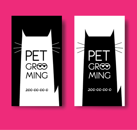 Logo for pet hair salon. Pet grooming salon. Vector cat silhouet 向量圖像