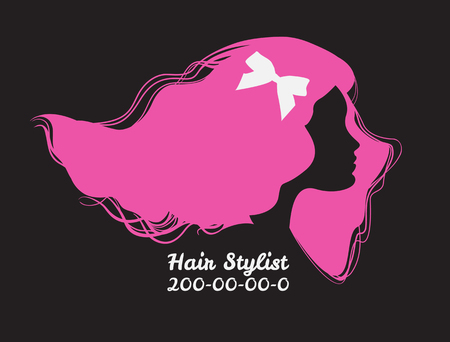 Pink silhouette of woman with long hair. Template design card fo 向量圖像