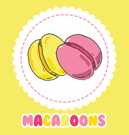 Sweet yellow and pink french macaroon cake. Biscuit dessert