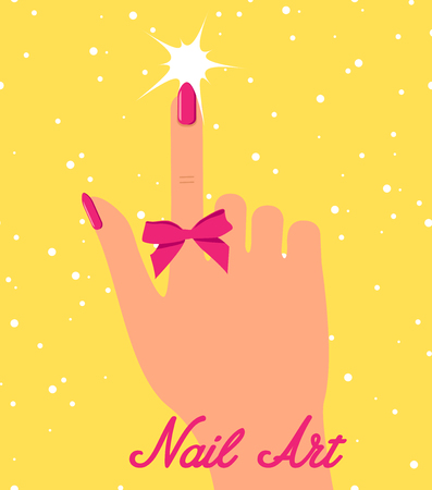Woman hand with pink fingernails and pink bow on yellow background