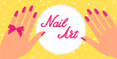 Woman hand with pink fingernails and pink bow on yellow background. Vector flat design of manicure procedure.