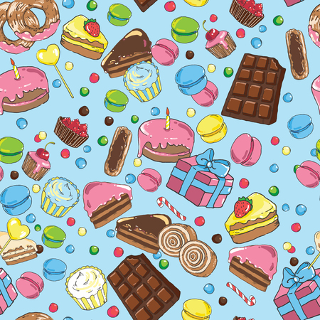 Seamless pattern from various sweets on blue background 向量圖像