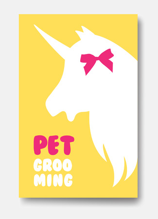 Business card template of grooming service pet with unicorns head silhouette