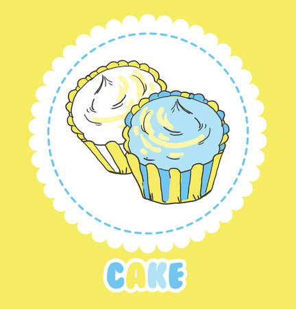 Creamy yellow and blue cupcakes on white. Vector illustration