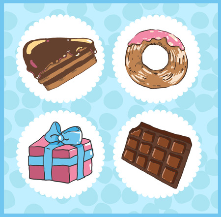 Set of icons of sweets with chocolate cake, donut, chocolate 向量圖像