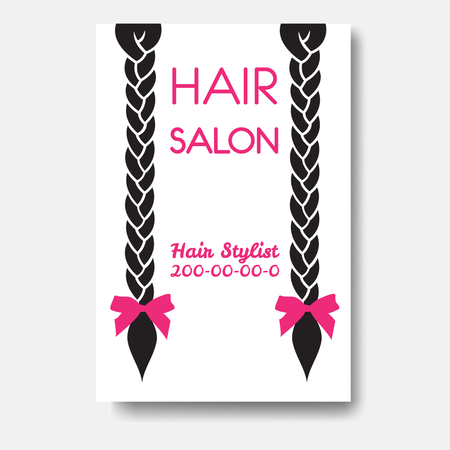 Vector design template with braids. Template hair business card Illustration