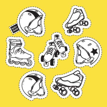 Summer outdoor activities sport equipment patch badges collectio 向量圖像