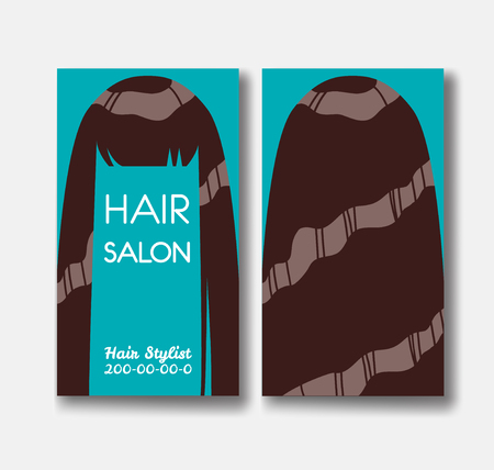 Hair salon business card templates with brown hair on green back hair salon business card templates with brown hair on green back stock vector 78079990 wajeb Images