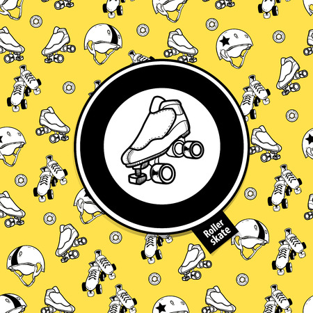 Sign roller derby and seamless pattern on the theme of roller de