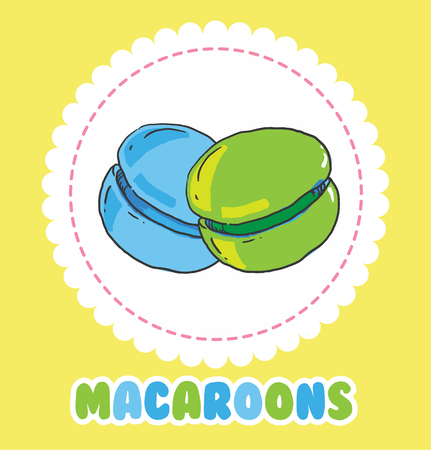 macaron: Sweet green and blue french macaroon cake. Biscuit dessert