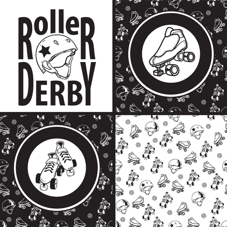 Set of drawings and seamless patterns on the theme of roller der