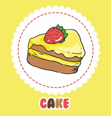 Piece of cake with strawberry and pink yellow icing. Cake Icon