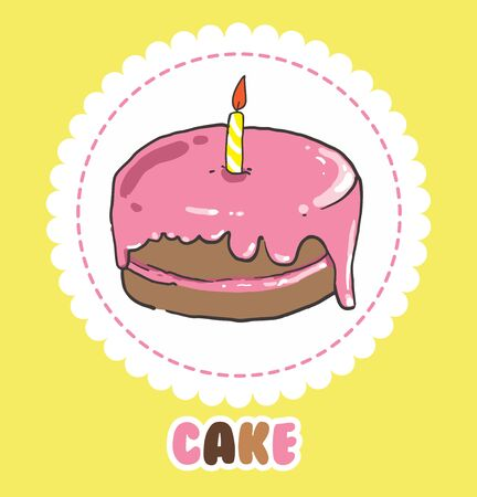 Pink birthday cake with candle 向量圖像