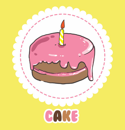Pink birthday cake with candle. Cake Icon.