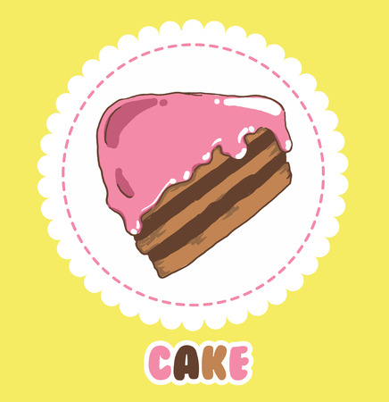 Piece of chocolate cake with pink icing. Cake Icon.