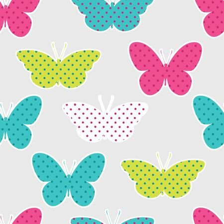 Seamless pattern with colorful butterflies silhouettes on yellow background.
