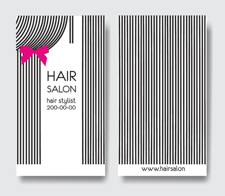 Template design business card with long straight hair and bow. Business card front and back side.