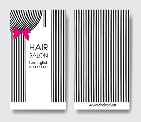 Template design business card with long straight hair and bow. Business card front and back side 版權商用圖片