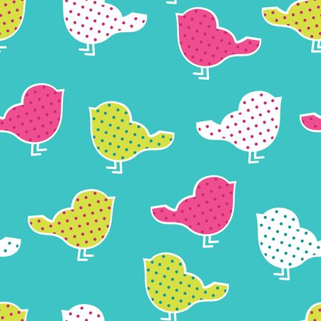 Seamless pattern with colorful birds silhouettes on yellow background. Birds in polka dots