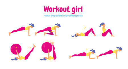 Workout for women. Set of gym icons in flat style on yellow background