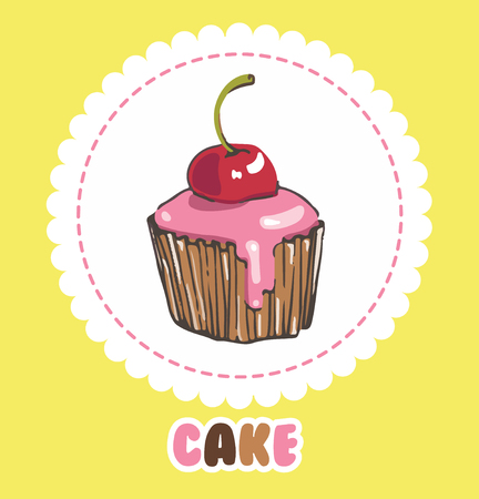 Cupcake with glaze and cherry. Cake icon
