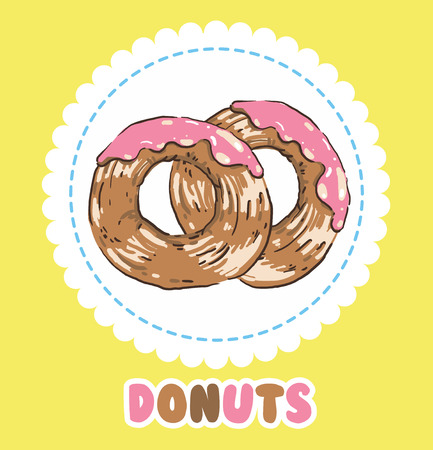 Donuts with pink tasty glazing. Donut icon