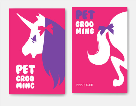 Business cards templates of grooming service pet with unicorn s