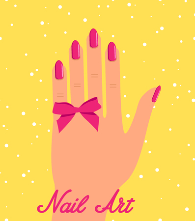 Woman hand with pink fingernails and pink bow on black backgroun 向量圖像