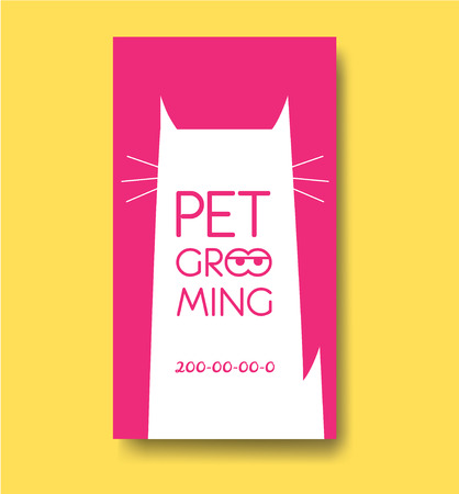 Pet grooming label and business card design template with cat si 向量圖像