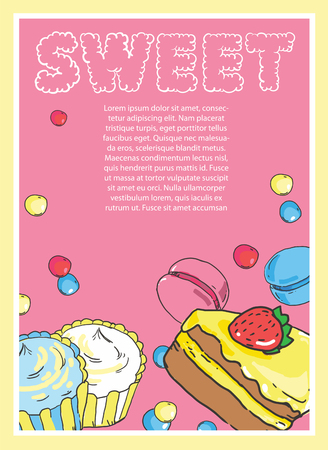 Flyer on the theme of food and sweets on pink background