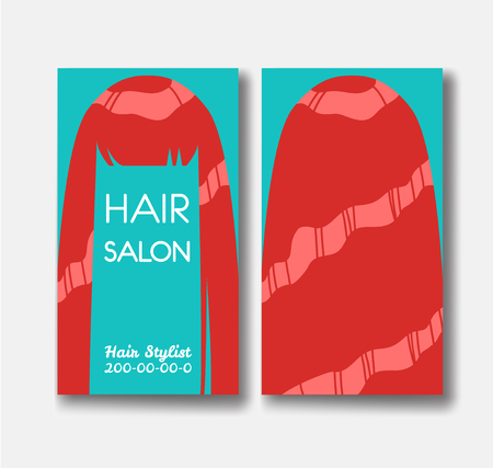 Hair salon business card templates with red hair on green backgr 向量圖像