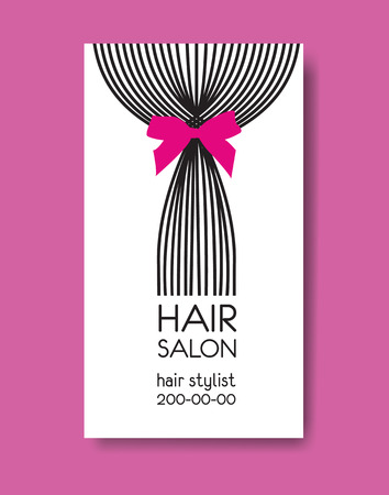 Template design business card with tail of  long straight hair a