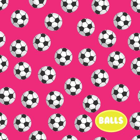 Football ball seamless pattern on pink background 向量圖像