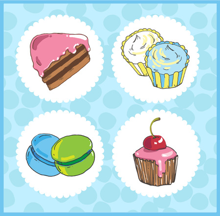 Set of icons of sweets with cake, cupcake, macaroons on blue bac 向量圖像