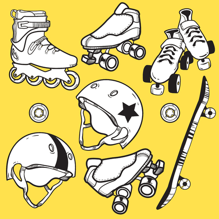 Summer outdoor activities sport equipment icons collection with