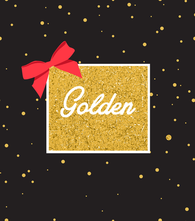 Abstract black background with sparkles and gold label in center