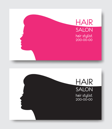 Hair salon business card templates with beautiful woman face hair salon business card templates with beautiful woman face sil stock vector 88430744 accmission