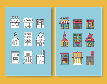 Set of vector flat design buildings icons Apartment, Residential