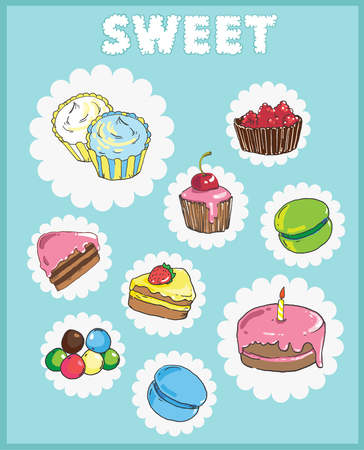 Icons on the theme of sweets. Cake icons 向量圖像