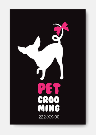 Poster template with dog silhouette on black background. Pet gro 向量圖像