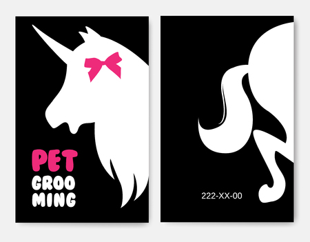 Business cards templates of grooming service pet with unicorns 向量圖像
