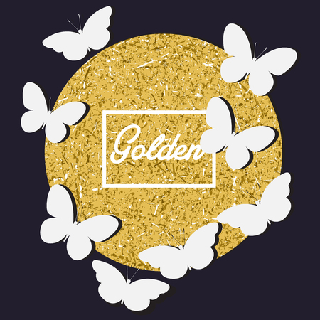 White butterfly with golden label