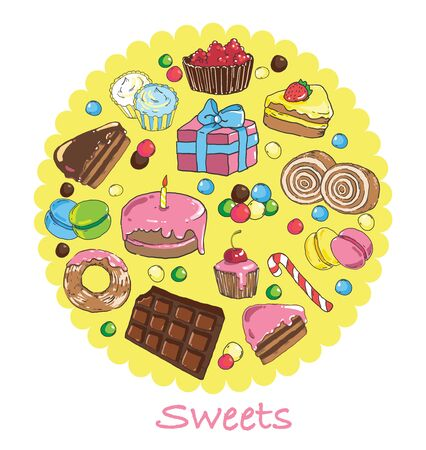 Set of sweets and baked goods. Illustration