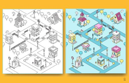 Isometric buildings pattern.