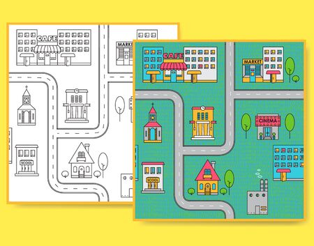 Map of city with different buildings, road and trees. Seamless pattern in black and white and color.
