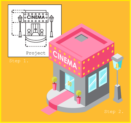 Cinema development construction design and planning concept. Drawing of the building in flat style and visualization of the building in isometric style. Vettoriali