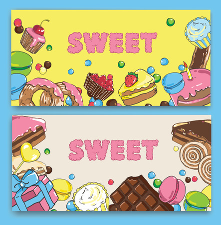Template on baking and sweets. 版權商用圖片 - 89545297