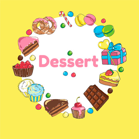 Frame of sweets. Set of candy and cakes.