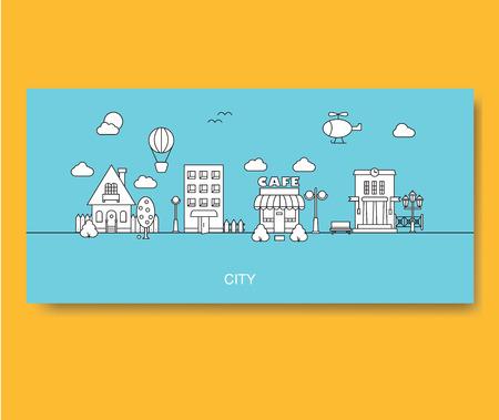 Set of buildings cottage, vector illustration. Vettoriali