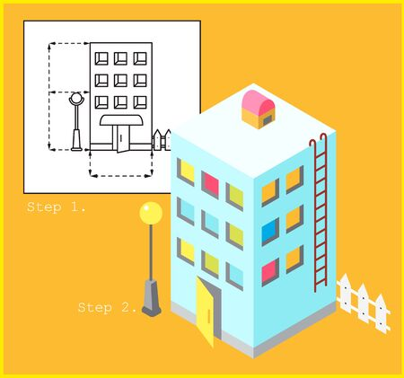 Project of multi-family house in linear style and model of apartment building in color and isometric style.